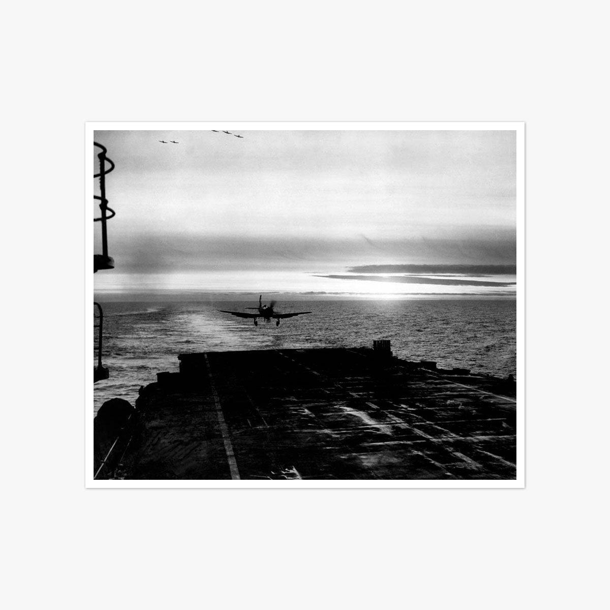 Plane Landing On Aircraft Carrier Eagle by Herbert Mason